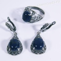 Лазуритовый Комплект серьги и кольцо