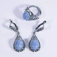 Комплект серьги + кольцо с голубым агатом искусств.