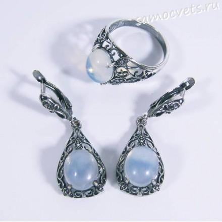 Комплект кольцо + серьги Лунный камень искусст.