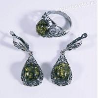 Комплект Зелёный Янтарь имит. Кольцо + Серьги