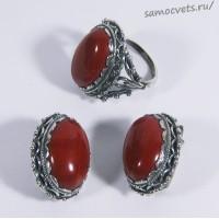Комплект из красной яшмы - Язгуль