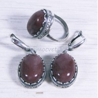 Комплект яшма красная кольцо + серьги