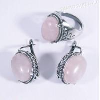 Комплект с Розовым кварцем серьги - кольцо Сельджан