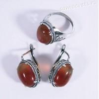 Гарнитур с сердоликами Серьги + кольцо
