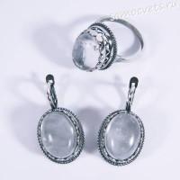 Комплект серьги + кольцо с горным хрусталём