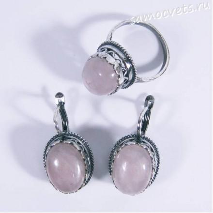 Комплект из Розового кварца серьги + кольцо овал