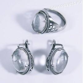 Комплект с горным хрусталём серьги + кольцо