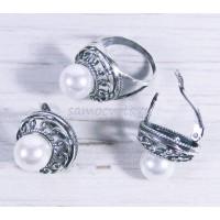 Комплект натуральный Жемчуг Белый кольцо + серьги