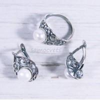 Гарнитур кольцо + серьги с Жемчугом Белый