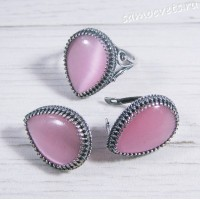 Комплект розовый кошачий глаз искусств. -  капля