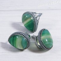 Комплект зелёный агат -  капля 1