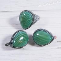 Комплект зелёный агат -  капля 3