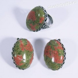 Комплект кольцо + серьги с унакитом