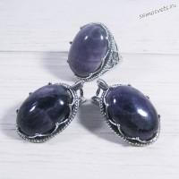 Комплект серьги + кольцо с аметистом 01