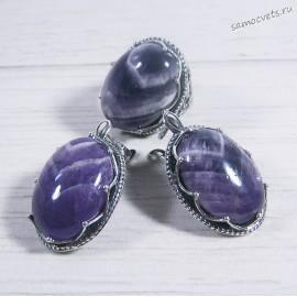 Комплект серьги + кольцо с аметистом 04