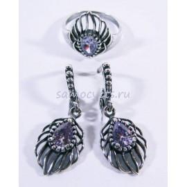 Комплект Светло - Фиолетовый Фианит - Яфрак
