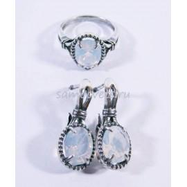 Комплект Лунный камень имитация (Ювелирное стекло) - Серьги и кольцо