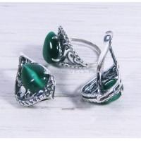 Комплект зелёный кошачий глаз искусств. серьги + кольцо