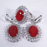 Комплект с родиевым покрытием красные кристаллы (под рубин)