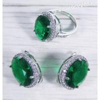 Комплект зелёный кристалл ( под изумруд) овал