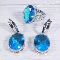 Комплект голубой кристалл ( под топаз) овал