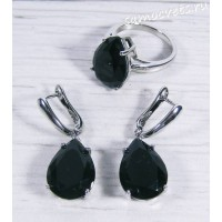 Комплект чёрный кристалл капля