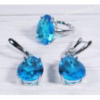 Комплект голубой кристалл ( цвет аквамарин)  капля