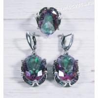 Комплект с кристаллами ( под опал) овал