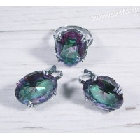 Комплект разноцветный кристалл ( под опал) овал