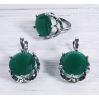 Комплект зелёный кристалл (под изумруд) круг