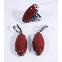 Комплект серьги + кольцо красная яшма Виктория - этно