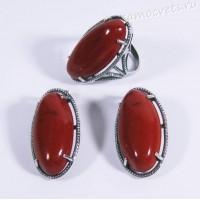 Комплект красная яшма Виктория - ретро