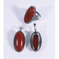Комплект с красной яшмой Виктория - винтажный