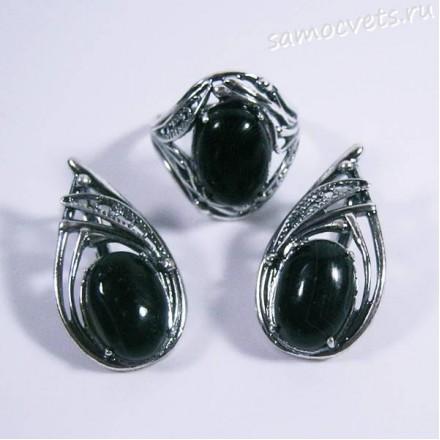 Комплект серьги + кольцо c чёрно-белым агатом