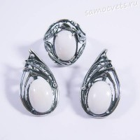 Комплект серьги + кольцо белый перламутр - Иделия