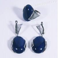 Набор серьги + кольцо лазурит Султания