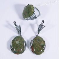 Набор серьги + кольцо унакит Султания