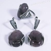 Набор серьги + кольцо аметист Султания