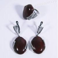 Набор серьги + кольцо красная яшма Султания
