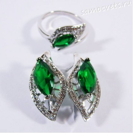 Комплект с Фианитами Зелёный родиевое покрытие - Тавис