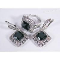 Комплект чёрные кристаллы - родиевое покрытие