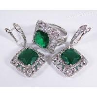 Комплект зелёные кристаллы (под изумруд) - родиевое покрытие