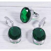 Комплект зелёный циркон - Тавис
