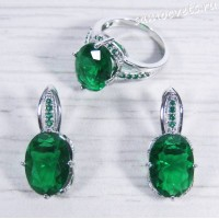 Комплект зелёный с цирконами - Тавис