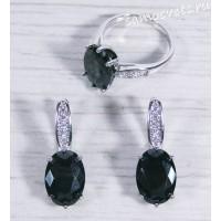 Комплект чёрный кристалл (под гематит) - Тавис