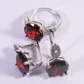 Комплект с Фианитом (Красный - Рубин) и родиевым покрытием - Тавис
