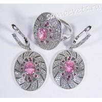 Комплект (серьги + кольцо) розовые кристаллы - Тавис