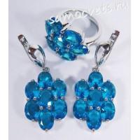 Комплект (серьги + кольцо) голубые кристаллы - цветок