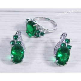 Комплект с зелёными кристаллами (цвет изумруд)  - Айназ