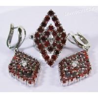 Комплект с родиевым покрытием Красные Цирконы - Звездопад ромб